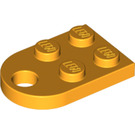 LEGO Bright Light Orange Plate 2 x 3 with Rounded End and Pin Hole (3176)
