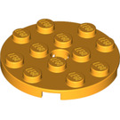 LEGO Bright Light Orange Plate 4 x 4 Round with Hole and Snapstud (60474)