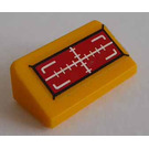 LEGO Bright Light Orange Slope 1 x 2 (31°) with White Line of Sight in Red Rectangle Sticker