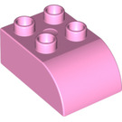 LEGO Bright Pink Duplo Brick 2 x 3 with Curved Top (2302)
