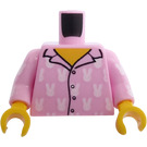 LEGO Bright Pink Minifig Torso Pyjama Top, 4 Buttons and White Rabbits Pattern