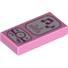 LEGO Bright Pink Tile 1 x 2 with Phone and Music-Player Decoration with Groove (95555)