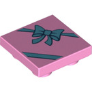 LEGO Bright Pink Tile 2 x 2 Inverted with Decoration (24560)