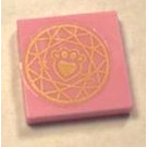 LEGO Bright Pink Tile 2 x 2 with gold paw print Sticker with Groove