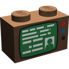 LEGO Brown Brick 1 x 2 with TV Decoration