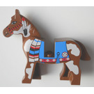 LEGO Brown Horse with Blue Blanket and Red Circle on Right Side