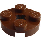LEGO Brown Plate 2 x 2 Round with Axle Hole (with '+' Axle Hole) (4032)
