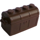 LEGO Brown Treasure Chest with Lid (Thick Hinge with Slots in Back)