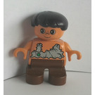 LEGO Caveman Boy with Brown legs and Flesh color body with leather tank Duplo Figure