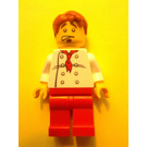 LEGO Chef, 8 Button shirt with red Tie Short Tousled Hair Minifigure