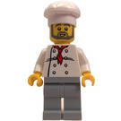 LEGO Chef with White Shirt with 8 Buttons, Red Neckerchief, Dark Stone Gray Pants, Beard, and White Chef's Hat Minifigure