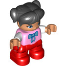 LEGO Child Figure Pink top with bow tie pattern Duplo Figure