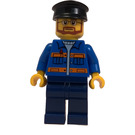 LEGO Christmas Tree Cart Driver with Blue Shirt with Orange Stripes, Dark Blue Legs, Beard, Glasses, and Black Hat Minifigure