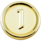LEGO Chrome Gold Coin with 1