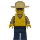 LEGO City, Forest Policeman with Floatation Vest, Tan Fedora, Dark Tan Tunic, Dark Blue Legs Minifigure