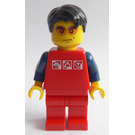 LEGO City Guy - Red Shirt with 3 Silver Logos, Dark Blue Arms, Red Legs Minifigure