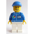 "LEGO City Minifig with Blue Cap, ""OIL"" and Octan Logo Minifigure"