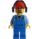 LEGO City Worker with beard wearing blue overalls with red cap with ear defenders Minifigure