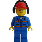 LEGO City Worker with blue jacket and blue pants with red cap with ear defenders Minifigure