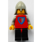 LEGO Classic Castle Knight, Red & Gray Shield on Torso, Black Legs with Red Hips, Light Gray Neck-Protector Minifigure
