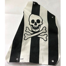 LEGO Cloth Sail 2 with Black Stripes, Skull and Crossbones Pattern