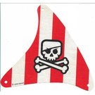 LEGO Cloth Sail 21 x 22 Triangular with Red Stripes and Jolly Rogger Pattern