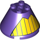LEGO Cone 4 x 4 x 2 with Yellow stripes in a triangle with Axle Hole (3943 / 88128)