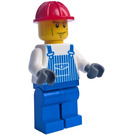 LEGO Construction worker - Red Helmet and Blue Overalls and Legs Minifigure