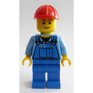 LEGO Construction worker with blue overall with tools in pocket and red construction helmet (Set 4434) Minifigure