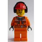 LEGO Construction Worker with Dark Stone Gray Hoodie Minifigure