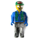 LEGO Construction worker with Green Cap with Brick Logo Minifigure