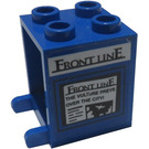 """LEGO Container 2 x 2 x 2 with """"Front Line"""" Heading Sticker with Recessed Studs (4345)"""
