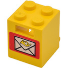 LEGO Container Box 2 x 2 x 2 with Solid Studs with Mail Envelope Decoration with Solid Studs (4345)