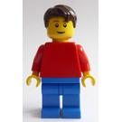 LEGO Creationary man plain blue legs, plain red torso, smile, dark brown hair Minifigure