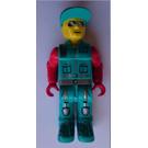 LEGO Crewmember with Dark Turqouise Overalls and Red Arms Minifigure