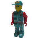 LEGO Crewmember with Dark Turquoise Overalls and Red Arms Minifigure