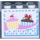 LEGO Cupboard 2 x 3 x 2 with 2 cupcakes Sticker from Set 3061 with Recessed Studs (92410)
