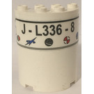 LEGO Cylinder 2 x 4 x 4 with 'J-L336-8' and 5 Logos Sticker (6218)