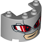 LEGO Cylinder Half 2 x 4 x 2 with Cutout with Goggles and mouth (24593 / 26209)