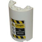 LEGO Cylinder Half 2 x 4 x 5 with 1 x 2 cutout with Danger Sticker from Set 76037 (85941)
