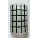 LEGO Cylinder Half 2 x 4 x 5 with 1 x 2 Cutout with Dark Green Window Panes Sticker