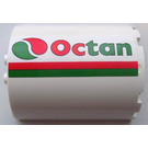 LEGO Cylinder Half 3 x 6 x 6 with 1 x 2 Cutout  with Red and Green Stripe and Octan Logo (Right) Sticker (87926)