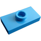 LEGO Dark Azure Plate 1 x 2 with 1 Stud (with Groove and Bottom Stud Holder)
