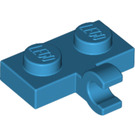 LEGO Dark Azure Plate 1 x 2 with Horizontal Clip (11476 / 65458)