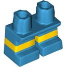 LEGO Dark Azure Short Legs with Yellow Stripe (16709)
