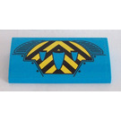 LEGO Dark Azure Slope 2 x 4 Curved with Black and Yellow Chevrons Sticker with Bottom Tubes