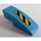 LEGO Dark Azure Slope Curved 3 x 1 with Black and Yellow Danger Stripes Cutout Pattern Left Sticker