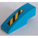 LEGO Dark Azure Slope Curved 3 x 1 with Black and Yellow Danger Stripes Cutout Pattern Right Sticker