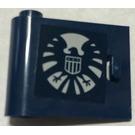 LEGO Dark Blue Door 1 x 3 x 2 Left with SHIELD Logo Sticker with Hollow Hinge