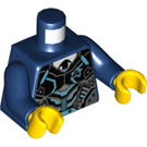 LEGO Dark Blue Minifig Torso with Silver and Medium Azure Body Armor with Ultra Agents Logo, Black Tie (76382)